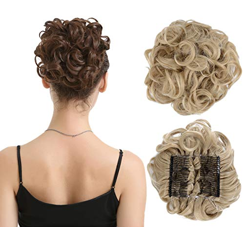 BARSDAR Messy Hair Bun Extension Combs in Easy Stretch Scrunchie Chignon Tray Ponytail Hairpieces for Women/Ladies/Girls (24T613# Pale Golden Blonde & Bleach Blonde)