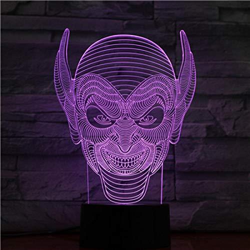 Lámpara 3D La Cabeza Del Hombre Funciona Con Batería De 7 Colores Con Recompensa Remota Personalizada Para La Lámpara De Luz Nocturna Led De Ilusión 3D Infantil 1pc