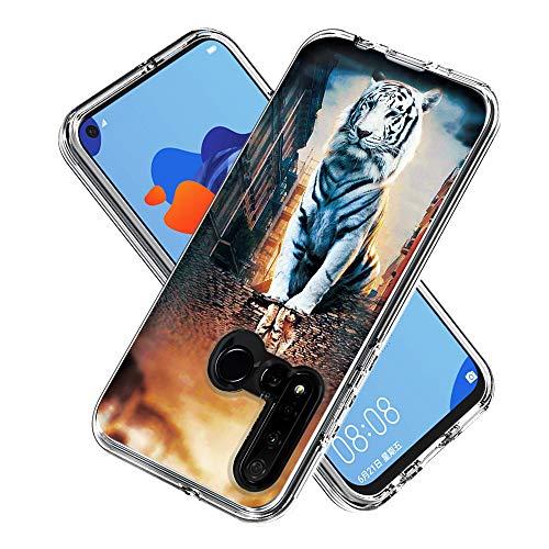 FAWUMAN Hülle für Huawei P20 lite (2019),Durchsichtig Handyhülle Hybrid Rundumschutz (Hartplastik + Weich TPU Silikon Bumper) Ultradünne Stoßfest Schutzhülle Transparent Cover Case (Reflexion Katze)