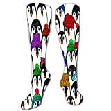 txregxy Athletic Socks For Women Men Cute Penguins In Colorful Hats And Scarfs Funny Pen