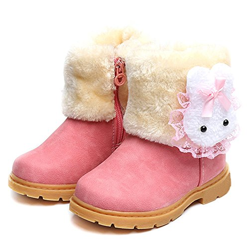 LUUB Adorable Bunny Kid Boots Warm for Children Girls Winter Snow Shoes Fashion (Toddler/Little Kids) DTX02,Pink,22