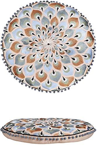 Orientalische Kissen Bodenkissen Bunt aus Baumwolle ø 55cm inklusive Füllung | Marokkanisches Sitzkissen Sitzpouf Azet -2- Rund | Orientalisches rundes Yogakissen Meditationskissen bestickt