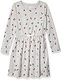 Amazon Essentials Toddler Girl's Long-Sleeve Elastic Waist T-Shirt Dress, Heather Grey Floral, 2T