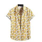 Camisa casual para hombre Slim Fit,Camiseta de manga corta con estampado de moda de verano,Playa de lino bolsillos botón camiseta, amarillo, XL