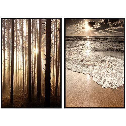 decomonkey | Poster 2er – Set schwarz-weiß Abstrakt Kunstdruck Wandbild Print Bilder Bilderrahmen Kunstposter Wandposter Posterset Strand Meer Wald Baum