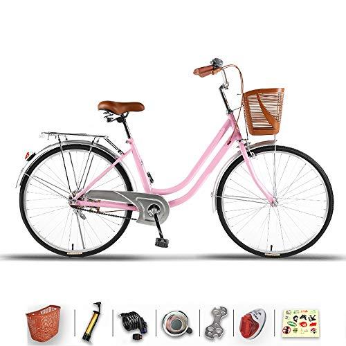 DODOBD 26 Zoll Damenrad, Fahrradkorb, Damen Citybike, Damenrad, Komfort, Fahrräder, Retro, Holland, Frau Lady Girl Vintage Erhältlich in Zwei Größen