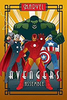 The Avengers - Marvel Comics Poster (Art Deco Design) (Iron Man, Captain America, Thor & The Hulk) (Size: 24 inches x 36 inches)