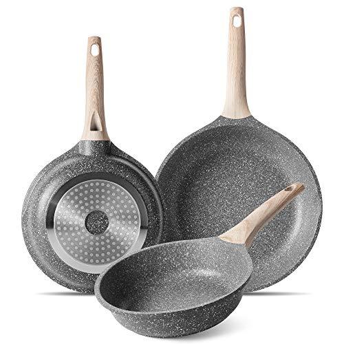 ZUOFENG Set de Sartén Antiadherente de 20 + 24 + 28 CM, Aluminio Fundido Sartenes para Saltear, para Todo Tipo de Cocinas Incluida Inducción y Vitrocerámica. (Gris, 20+24+28cm)