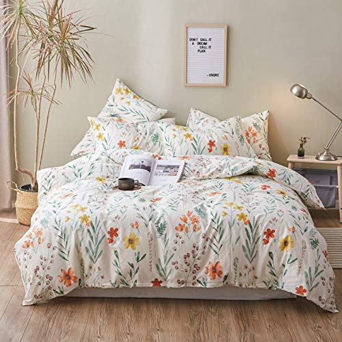 Shabby Chic Duvet Cover, 100% Cotton 3 Pcs Queen Shabby Chic Bedding Set, Fresh Garden Style Red Yellow Flowers Green Leaf Print On White, with Zipper Ties, Comfortable, Lightweight, Breathable