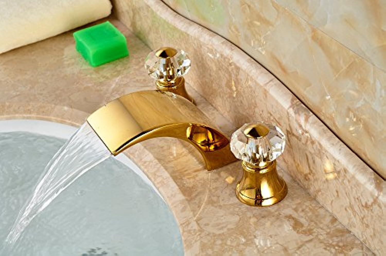 Maifeini VerGoldetem Messing Rom Wasserfall Bad Waschtischmischer Griff Waschbecken Armaturen Crystal Wasserhahn Warmes Und Kaltes Mixer