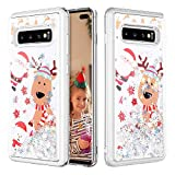 Caka Case for Galaxy S10 Plus Glitter Case Bling Sparkle Shining Christmas Liquid Fashion Flowing Quicksand Glitter Women Girls Snowflake Silver Case for Samsung Galaxy S10+ Plus (Moose)