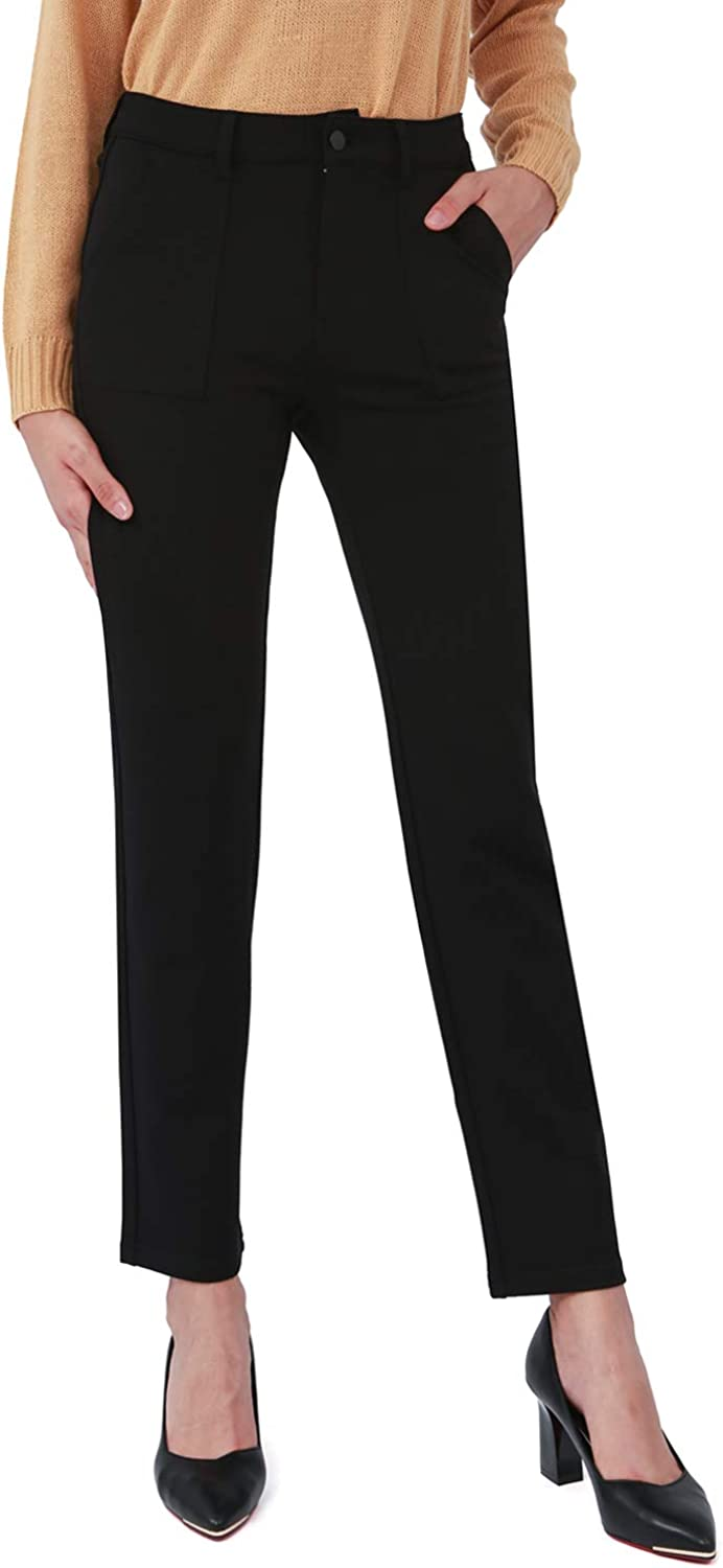 Bamans Business Casual Dress Pants for Women Work Pants Bootcut with Side Pockets Straight Leg