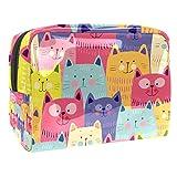 Bolsas de Aseo Gatos Colorful Funny Kitty Hombres y Mujeres Bolsa de Almacenamiento de Viaje Impermeable de PVC Impresa Personalizada 18.5x7.5x13cm