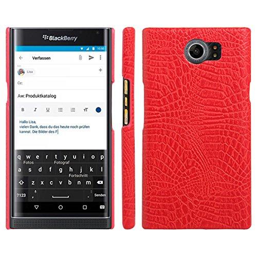 HualuBro BlackBerry Priv Hülle, [Ultra Slim] Premium Leichtes PU Leder Leather Handy Tasche Schutzhülle Hülle Cover für BlackBerry Priv Smartphone (Rot)