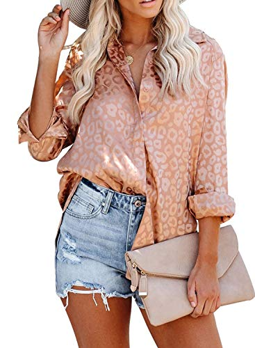 GOSOPIN Damen Hemd elegant Blusenshirt Langarm Top mit Jacquard einfarbig Bluse Überhemd
