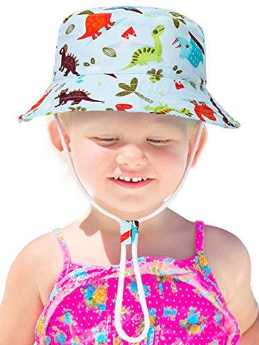Sombrero de Cubo de Niños Sombrero de Protección Solar Gorra con Patrón Lindo Sombrero de Algodón de Visera para Vestido de Verano (Dinosaurios Coloridos, 3 a 7 Años de Edad)