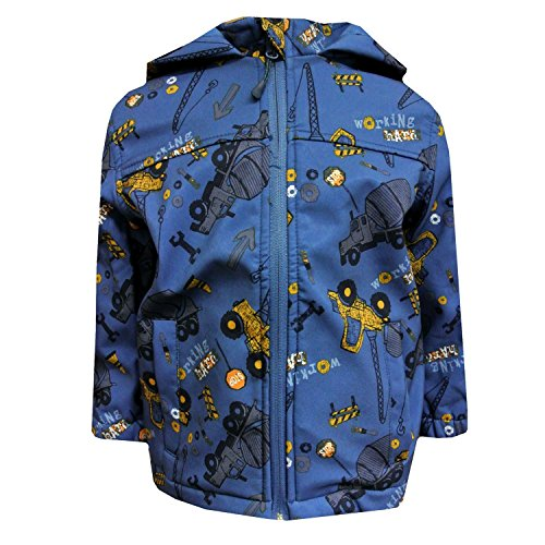 Outburst - Baby Jungen Softshelljacke Regenjacke mit Kapuze Baustellen-Motiv wasserabweisend, blau - 8472409, Größe 80