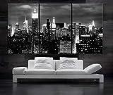BoxColors Large 30' x 60' 3 Panels 30'x20' Ea Art Canvas Print Beautiful New York NY Skyline night Wall Home decor Gallery Wrap framed 1.5' depth