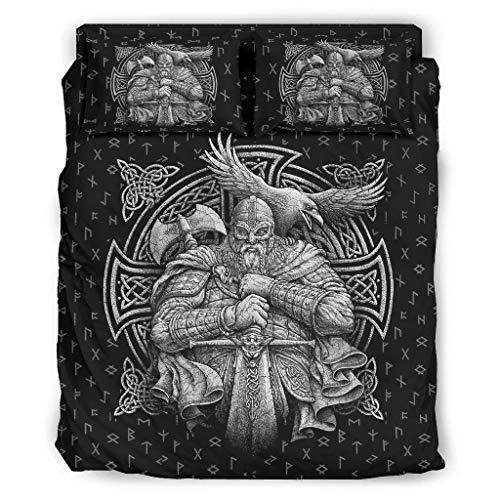 FFanClassic Juego de cama de 4 piezas Viking Odin colorido super suave microfibra impresa – funda de cama blanca 240 x 264 cm