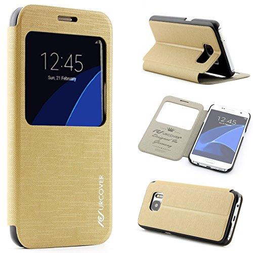 Smartphone Hülle Schale Tasche kompatibel mit Samsung Galaxy A5 (Version 2015) View Hülle Flip Cover Schutz Hülle Flip Cover Hülle Schale Champagner Gold