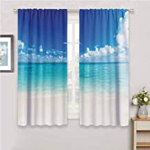 GUUVOR Ocean Decor Collection Room Darkened Heat Insulation Curtain Natural Coastal View Sand sea Beach Caribbean Sea Picture Living Room W54 x L63 Inch Blue Turquoise White Ivory