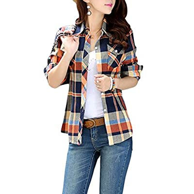 Lasher Female Cotton Casual Plaid Button-up Shirts ( Blue Yellow) US=M Tag=XL