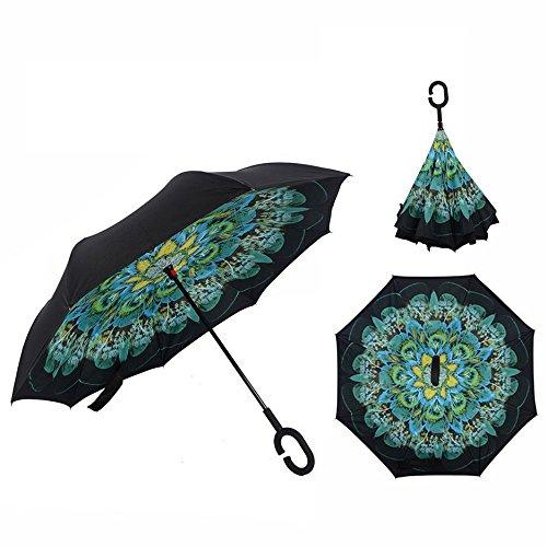 ①ixin automatische omgekeerde paraplu met C-vormige handgreep, dubbele laag en winddicht, creatief paraplu (pauw).