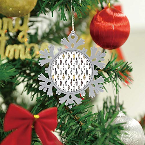SUPNON Christmas Hanging Snowflake Ornament - Cat Breed Kitten Butt Ball of Cat Doodle - Cute Xmas Tree Hanging Decoration - Circle Ceramic Holiday Family & Friends Gift SW10954,1 PCS