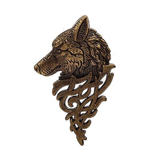 outopeno 1Pc Retro Wolf-Kopf-Brosche Pullover Schal-Schal Kleines Metalltier Wolf Broschen Revers Anzug Kragen Pins (Bronze)