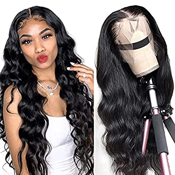 LAPONDAI Lace Front Wigs Human Hair Body Wave 13x4 HD Lace Frontal Wig Pre Plucked with Baby Hair Brazilian Human Hair Wigs for Black Women 150% Denisty Natural Color  18Inch