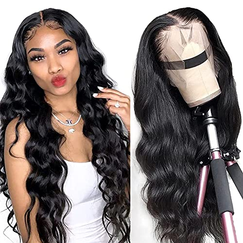 LAPONDAI Lace Front Wigs Human Hair Body Wave 13x4 HD Lace Frontal Wig Pre Plucked with Baby Hair Brazilian Human Hair Wigs for Black Women 150% Denisty Natural Color (18Inch)