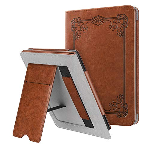 Fintie Stand Case for Kindle Paperwhite (Fits All-New 10th Generation 2018 / All Paperwhite Generations) - Premium PU Leather Protective Sleeve Cover with Card Slot and Hand Strap, Vintage Brown