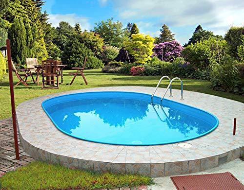 Summer Fun Stahlwandbecken Rhodos Exklusiv oval 3,20m x 6,00m x 1,50m Folie 0,6mm Einzelbecken Pool Ovalpool ohne Zubehör / 320 x 600 x 150 cm Stahlwandpool