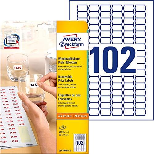 AVERY Zweckform L3410REV-25 Preis-Etiketten (A4, 2.550 Stück, ablösbar, 26 x 16 mm, 25 Blatt) weiß