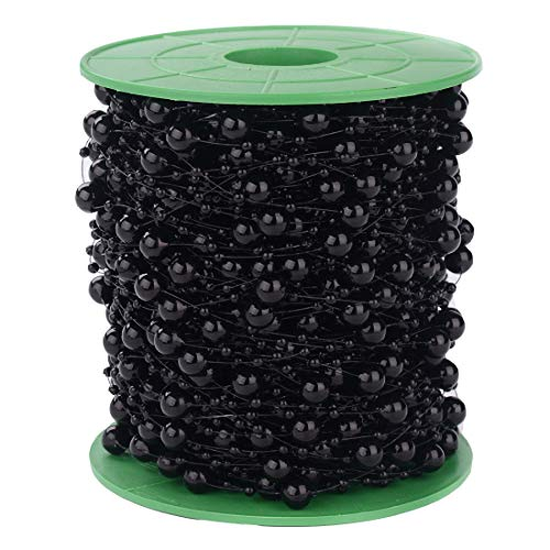Xihui 200FT 60M 8+3mm Fishing Line Artificial Pearls Beads String Roll,Pearl Beaded Trim Decoration for Flower Tree Garland,Wedding Party,Bridal Bouquet, and Hair Band (Black Pearl)