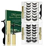 Magnetische Wimpern 3D-Magnet Falsche Wimpern Set Eyeliner Künstliche magnetische Wimpern Wiederverwendbare lange Dicke, um Make-up-Wimpern aus 14 Paaren natürlicher Wimpern zu verlängern(B)