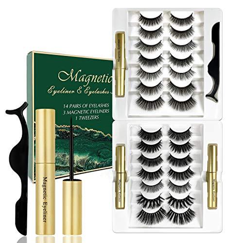 14 pares de pestañas magnéticas con eyeliner, juego de pestañas postizas, delineador de ojos, pestañas magnéticas, grosor reutilizable, extensión de pestañas de maquillaje, pestañas naturales(B)