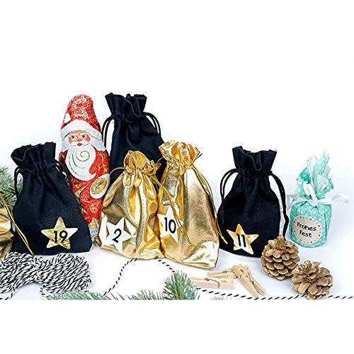 yanbirdfx Christmas Drawstring Gift Bags, 24Pcs/Set Xmas Solid Color Storage Pouch Treat Candy Bags for Xmas Storage Gold Black