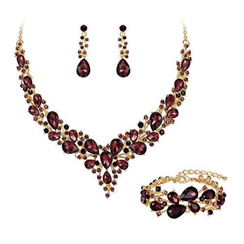 Clearine Set di gioielli da sposa con cristalli austriaci teardrop Cluster Statement collana orecchini e bracciale da donna, Lega di acciaio,