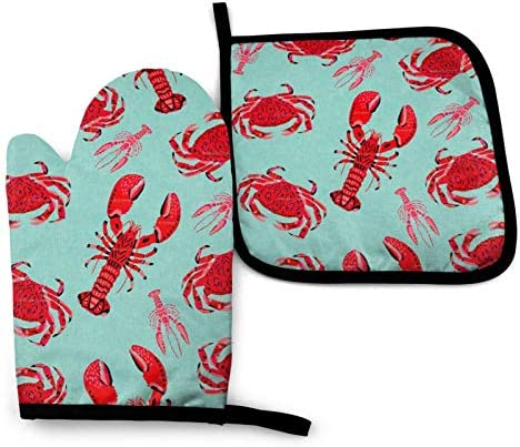 Treppteo Oven Mitts and Pot Holder Set Red Crabs Lobster Heat Insulation Kitchen Mittens Potholders product image