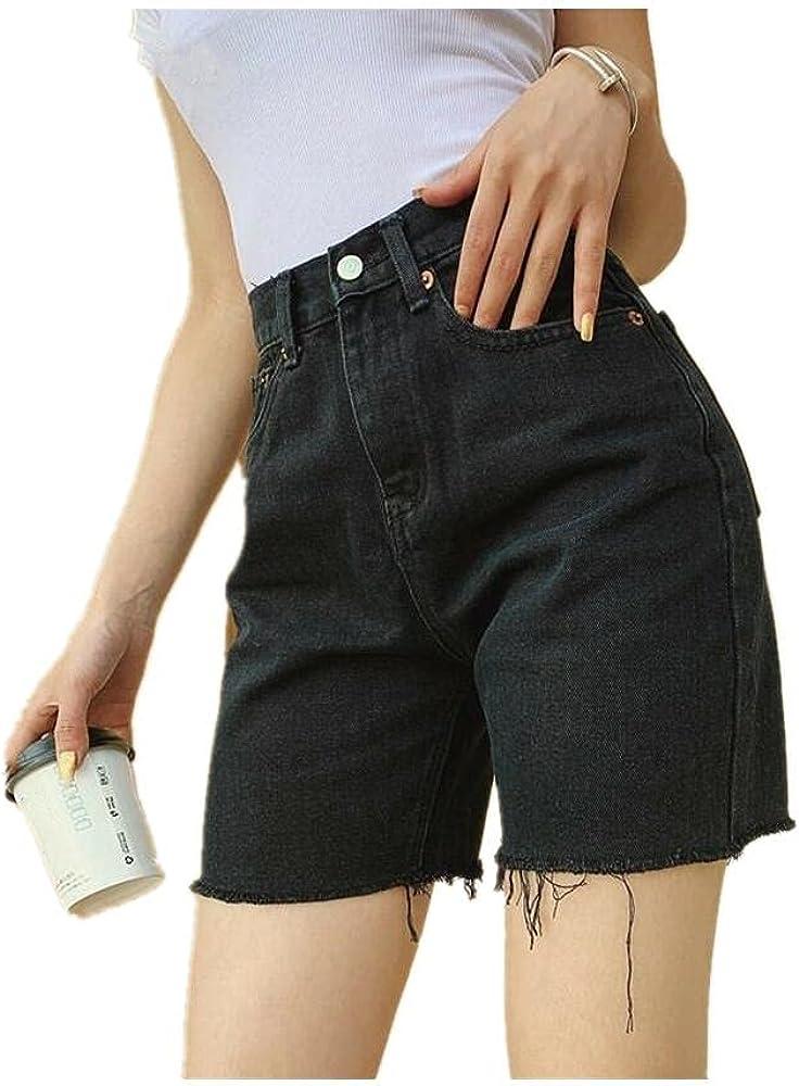 NP High Waist Slim-fit Denim Shorts Plus Size Woman Fringed Skinny