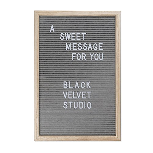 Black Velvet Studio Tablero Letras Word Madera y Fieltro, Color Natural y Gris. 145 Letras 45x30x2,5 cm.