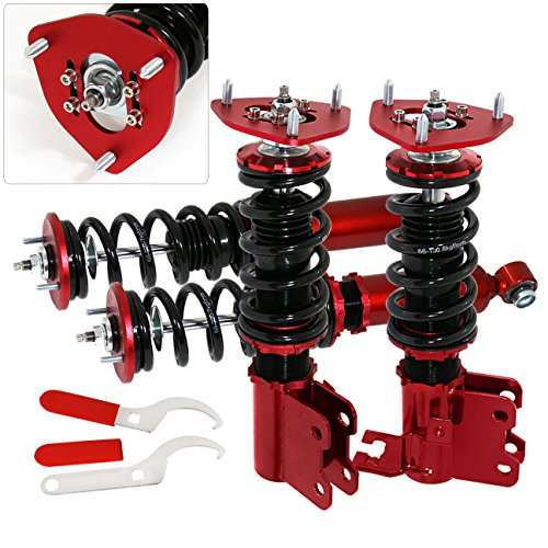 AJP Distributors For 240Sx S14 Suspension Full Adjustable Lowering Spring Shocks Strut Coilover Dampers Kit Racing Red