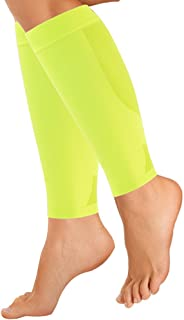 OrthoSleeve CS6 Compression Calf Sleeves (One Pair) for Achilles Tendonitis, Shin Splints, Leg Cramps, Venous Insufficiency and Improves Circulation (Reflector Yellow, X-Large)