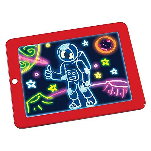 ZED- 3D Magic Drawing Pad Kids Magic Pad para educación CREA un Arte Que Brilla en el portapapeles Juguetes con un Pincel de Pizarra y un Dibujo de Escritura