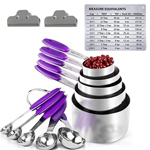 Measuring Set - 5 Measuring Spoons and 5 Measuring Cups Solid Sturdy Stainless Steel Stackable Measuring Spoon Set