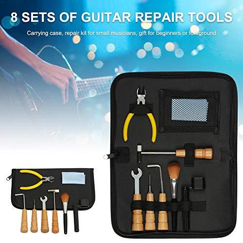 Gitaargereedschap repareren onderhoudsgereedschapsset bevat snoer organizer & inbussleutels set & bestanden voor gitaar ukelele bass mandoline (8 stuks)