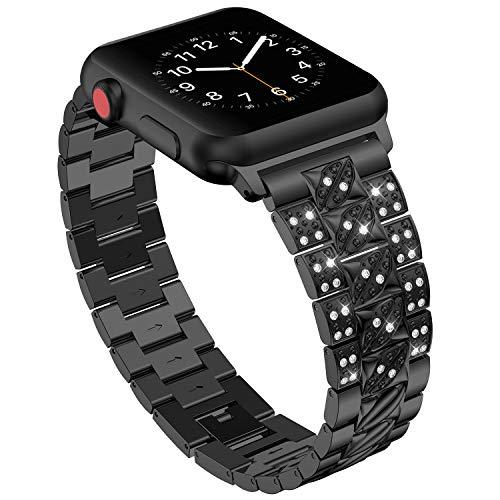 Bands für Apple Watch 42mm 44mm,Schwarz Damen Edelstahl Sport Uhr Armband für iWatch Series 4 44mm,Metall Bling Armbänder für Series 3 2 1 42mm Edition Nike+