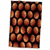 3D Rose Wallpaper Pattern Made Entirely from Basketballs Hand Towel, 15' x 22', Multicolor