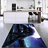 Children Kids Nursery Rugs Floor Carpet, Surreal Werewolf Eyes, Circle Rugs for Living Room 6'x8'